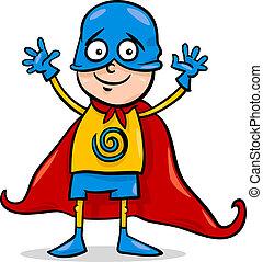 ragazzo, in, eroe, costume, cartone animato