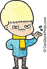 ragazzo, infastidito, cartone animato