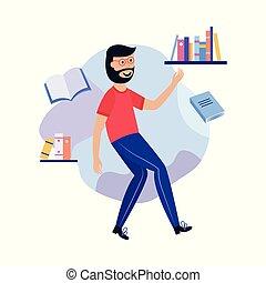 ragazzo, informazioni, carattere, circondato, -, giovane, ambiente, libri, sorridente, maschio, documents.