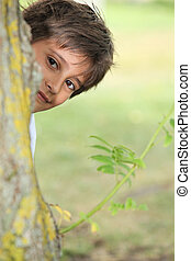 ragazzo, intorno, sbirciatina, albero, giovane, fischio,...