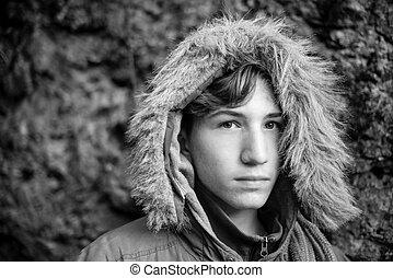 ragazzo, inverno, clothings, foto, -, nero, ritratto, serio, bianco