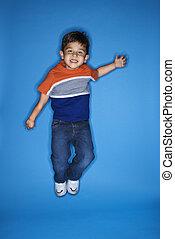 ragazzo, jumping., maschio