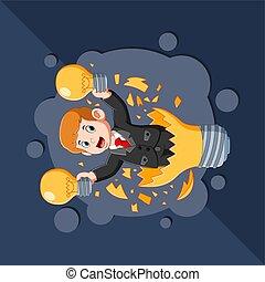 ragazzo, lampada, presa a terra, idea, buono, giallo