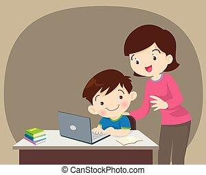 ragazzo, laptop, madre, seduta
