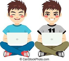 ragazzo, laptop, seduta