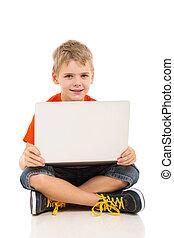 ragazzo, laptop, usando