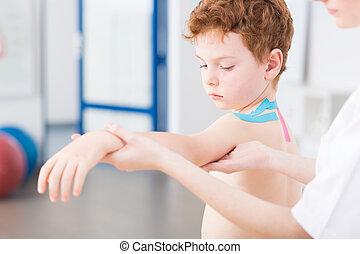 ragazzo, lesione, secondo, problemi, braccio