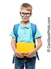 ragazzo, libri, proposta, fondo, bianco, occhiali