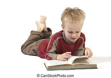 ragazzo, libro, 2, lettura
