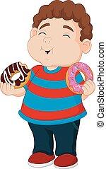 ragazzo, mangiare, cartone animato, donuts