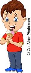 ragazzo, mangiare, crema, cartone animato, ghiaccio