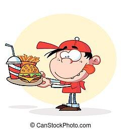 ragazzo, mangiare, fast food