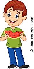 ragazzo, mangiare, fetta, anguria, cartone animato