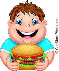 ragazzo, mangiare, grande, grasso, hamburger, cartone animato