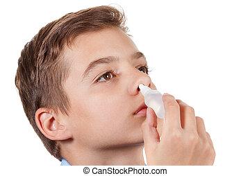 ragazzo, medico, gocce, gocciolamenti, naso