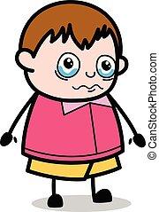 ragazzo, molto, -, grasso, vettore, illustrazione, emotivo, cartone animato, adolescente