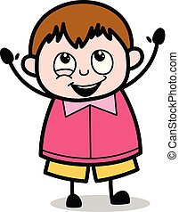 ragazzo, molto, -, grasso, vettore, illustrazione, felice, cartone animato, adolescente