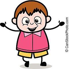 ragazzo, molto, -, grasso, vettore, illustrazione, felice, espressione, cartone animato, adolescente
