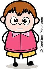 ragazzo, molto, spaventato, -, grasso, vettore, illustrazione, cartone animato, adolescente
