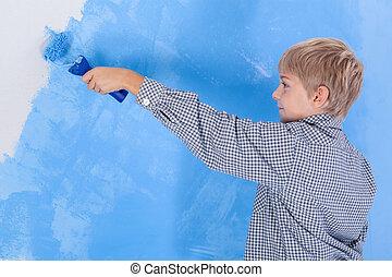 ragazzo, muro dipinto, in, suo, stanza