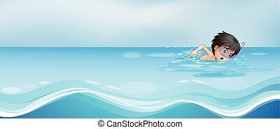 ragazzo, nuoto, solo, in, il, stagno