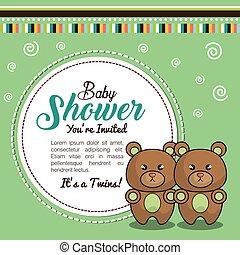 ragazzo, orso, doccia, gemelli, invito, bambino