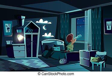 ragazzo, osservare, stanza, vettore, notte, spyglass