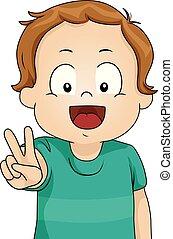 ragazzo, pace, illustrazione, segno, bambino primi passi, capretto