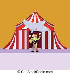 ragazzo, pagliaccio circo, tenda