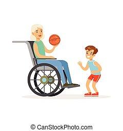 ragazzo, palla, colorito, seduta, carrozzella, illustrazione, nonna, vettore, gioco