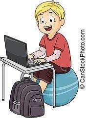 ragazzo, palla, computer, esercizio, capretto