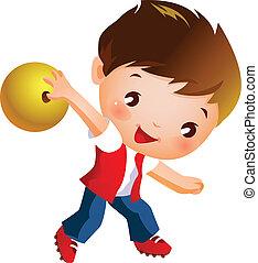ragazzo, palla, presa a terra, bowling