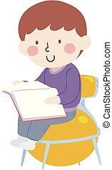ragazzo, palla, yoga, leggere, illustrazione, sedia, capretto