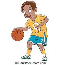 ragazzo, pallacanestro, cartone animato, giocatore
