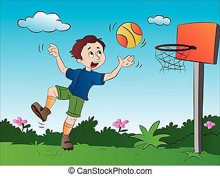 ragazzo, pallacanestro, gioco, illustrazione