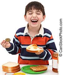 ragazzo, panino, adorabile, fabbricazione, peanutbutter