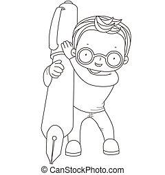ragazzo, penna, coloritura, illustrazione