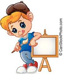 ragazzo, pennello, presa a terra, cartone animato