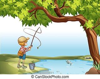 ragazzo, pesca fiume