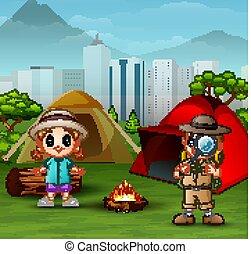 ragazzo, piccola ragazza, esploratore, campeggio