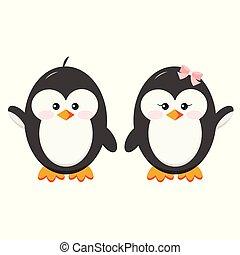 ragazzo, pinguino, set, dolce, coppia, -, caratteri, mani, ragazza bambino, presa, icona