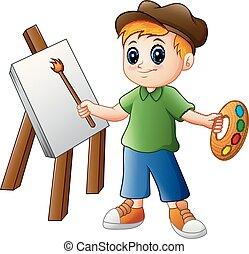 ragazzo, pittura, cartone animato