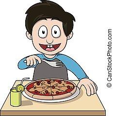 ragazzo, pizza, cartone animato, illustrazione, mangiare
