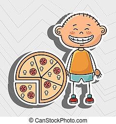 ragazzo, pizza, fast food