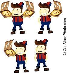 ragazzo, pizza