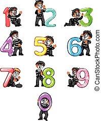 ragazzo, poco, balloon, -, numero, collezione, differente, 0, proposta, 9, pantomima