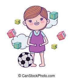 ragazzo, poco, blocchi giocattolo, numeri, felice