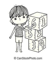 ragazzo, poco, blocchi, numeri