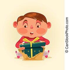 ragazzo, poco, box., regalo, appartamento, ottenere, illustrazione, vettore, bambino