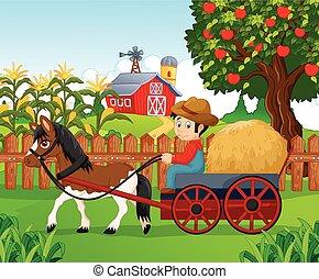 ragazzo, poco, carr, cavallo, guidare, cartone animato